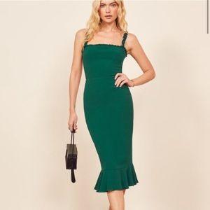 Reformation Wilshire Dress in Emerald Evergreen